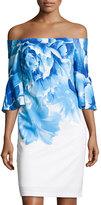 Donna Ricco Bell-Sleeve Floral-Print Sheath Dress, Blue/White