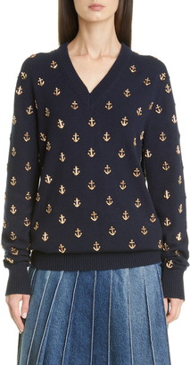 Michael Kors Anchor Embellished Cashmere Sweater