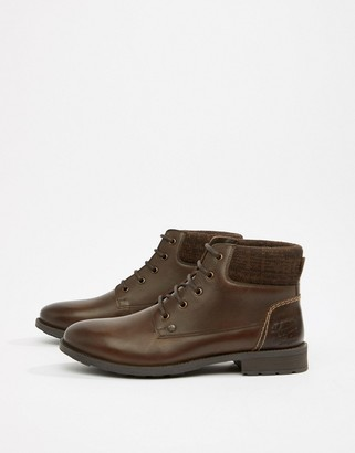 Original Penguin Leather Lace Up Boots in Brown