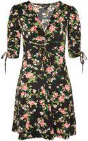 Topshop PETITE Floral Ruched Tea Dress