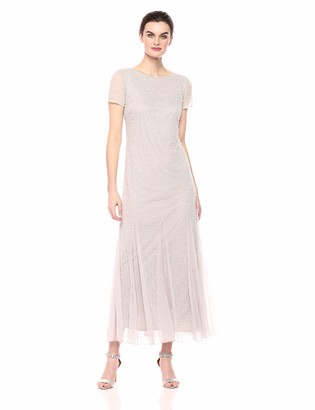 Pisarro Nights Women's Long Dress with Godet Skirt and a Beaded and Pearl Motif