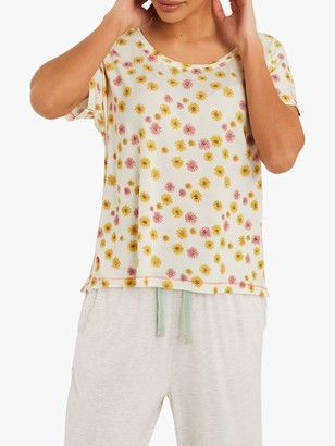 White Stuff Herbaceous Snooze Floral T-Shirt, Pink Print