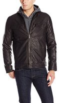 Perry Ellis Men's Faux Leather Bomber
