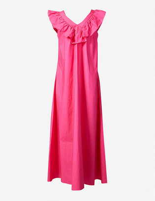 Paper London Ruffled-trim cotton-poplin maxi dress