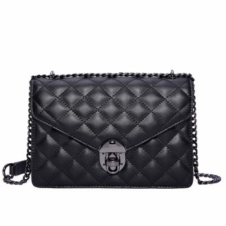 NEVEROUT Cross body Bag Women's Soft Genuine Leather Quilted Chain Shoulder Handbags Purse(NP2130) (Black)