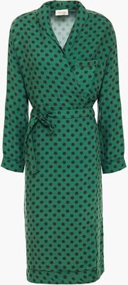 American Vintage Lisa Polka-dot Twill Wrap Dress