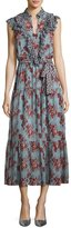 Robert Rodriguez Rose-Print Sleeveless Belted Dress with Ruffle Trim, Blue
