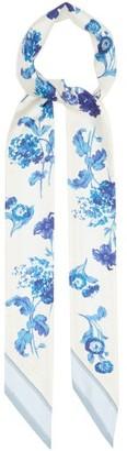 Burberry Floral-print Silk-twill Scarf - Blue