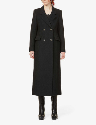 Ganni Double-breasted recycled wool-blend coat
