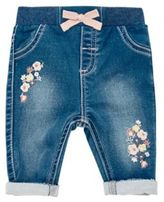 F&F Embroidered Jeans, Newborn Girl's