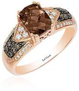 LeVian Le Vian Women's Chocolate & Vanilla Diamond, Smoky Quartz and 14K Strawberry Gold Ring