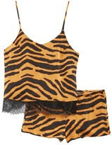 Midnight Bakery Tiger Stripe Lace Trim Camisole & Shorts Pajama 2-Piece Set