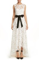 Monique Lhuillier Women's Velvet Tie Lace A-Line Gown