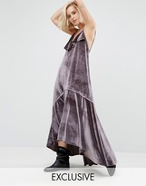 Religion Ruffle Maxi Cami Dress In Velvet