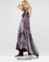 Religion Ruffle Maxi Cami Dress In Velvet