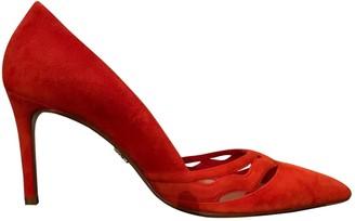 Prada Orange Suede Heels