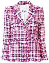 MSGM fringed checked tweed jacket