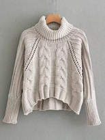 Shein Pointelle Detail Turtleneck Cable Knit Sweater