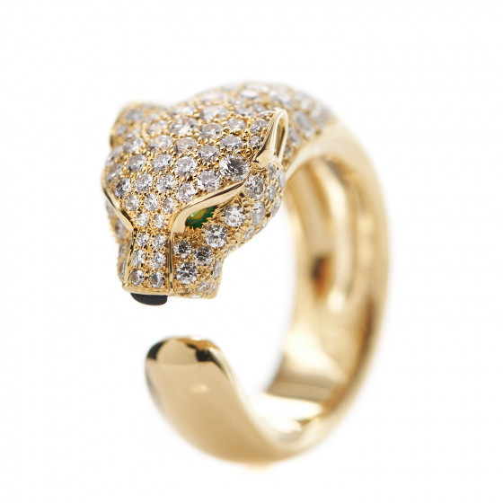 18K Yellow Gold Diamond Emerald Panther Cartier Ring