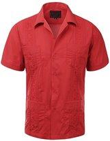 Mavye Guayabera Men's Cuban Wedding Short Sleeve Button-Up Shirt-L