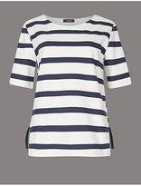 Autograph Pure Cotton Striped Eyelet Bonded T-Shirt