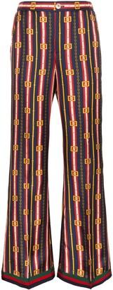 Gucci Chain And Stripe Print Silk Trousers