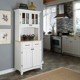 Home Styles Two-Drawer 31.25 in. W White Buffet with Wood Top and Hutch