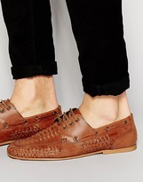 Asos Woven Loafers In Tan Leather