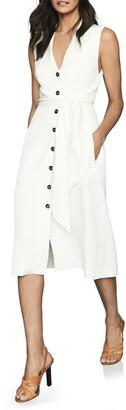 Reiss Rosalind Linen Belted Midi Dress