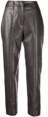 Luisa Cerano Leather-Effect High-Waisted Trousers