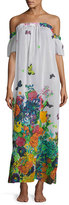 Milly Aruba Floral-Print Silk Maxi Coverup Dress