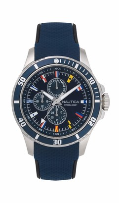 Nautica Men's NAPFRB016 Freeboard Multifunction Navy/Silver Silicone Strap Watch