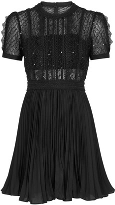Self-Portrait Black sequin-embellished mini dress