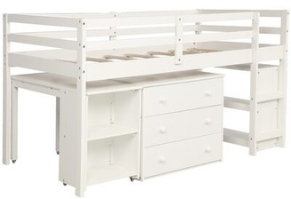 Isabelle & MaxTM Dorrington Low Study Twin Loft Bed with Desk, 3 Drawers, and Bookcase Isabelle & Max Bed Frame Color: White