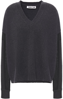 McQ Mesh-paneled Brushed Cotton-blend Sweater