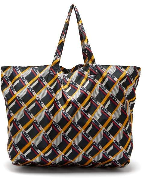 Fendi Mania Logo Print Leather Key Ring Nylon Tote - Womens - Black Multi
