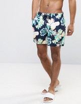 Hollister Guard Swim Shorts Floral Print Seagull Logo In Navy