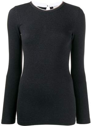 Brunello Cucinelli fitted neck detail top