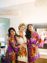 Etsy Purple Large Floral Blossom Silk Bridesmaids robes | Kimono Style getting ready robes, Satin Robes,