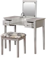 Linon Silver Butterfly Vanity Set