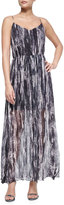 Andrew Marc Painted Wave Silk Maxi Dress