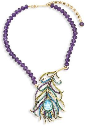 Heidi Daus Beaded Crystal Feather Pendant Necklace