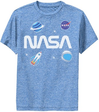 Licensed Character Boys 8-20 NASA Space Planet Rocket Sticker Emoji Performance Graphic Tee