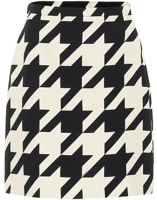 Gucci Houndstooth silk and wool miniskirt