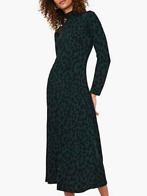 Warehouse Leopard Print Roll Neck Midi Dress, Animal