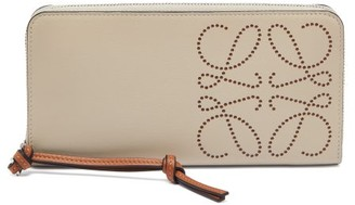 Loewe Dotted-anagram Leather Continental Wallet - Grey Multi