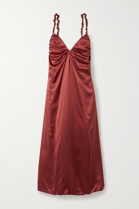 Dodo Bar Or Libi Gathered Silk-satin Midi Dress - Brick