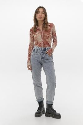 BDG Acid Wash Blue Seamed Mom Jeans - Blue 26W 30L at Urban Outfitters
