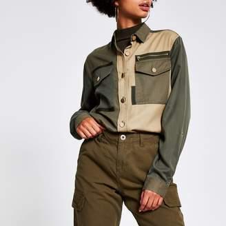 River Island Womens Khaki colour blocked long sleeve shirt