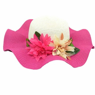 Hpera Ladies Summer Hats Hats for Ladies Womens Straw Hat Ladies Straw Hat Summer Hats for Women Summer Hats Sunhats Wide Brimmed Sun Hat Women Rose red Freesize